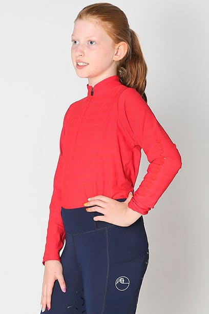 equestrian child technical long sleeve top red front left performa ride