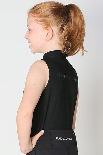 equestrian child technical sleeveless top black back left performa ride