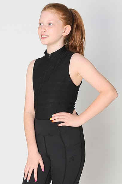 equestrian child technical sleeveless top black front left performa ride