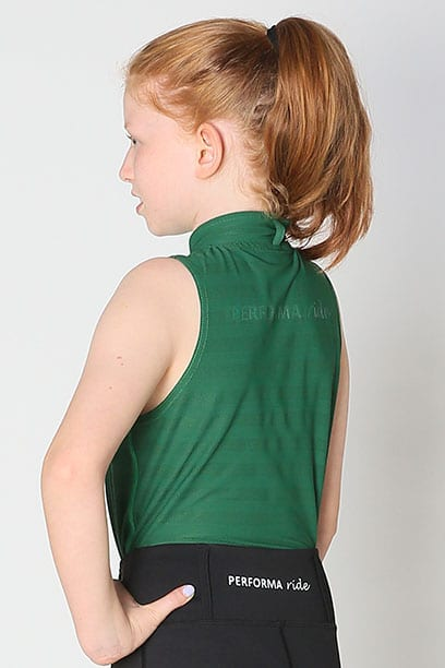 equestrian child technical sleeveless top green back left performa ride