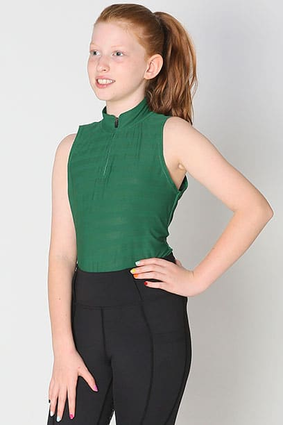 equestrian child technical sleeveless top green front left performa ride