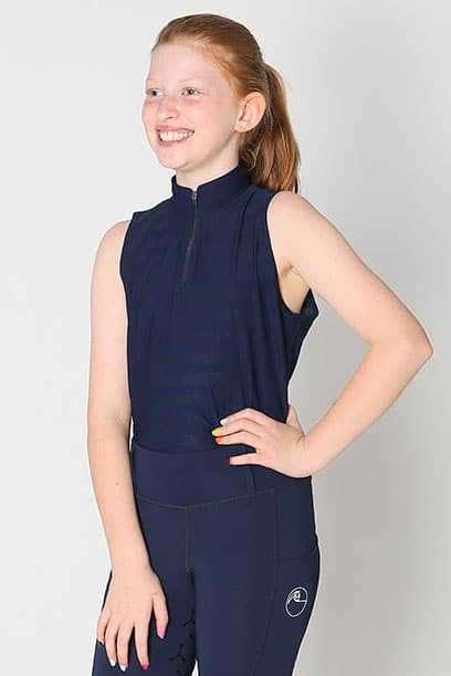 equestrian child technical sleeveless top navy front left performa ride