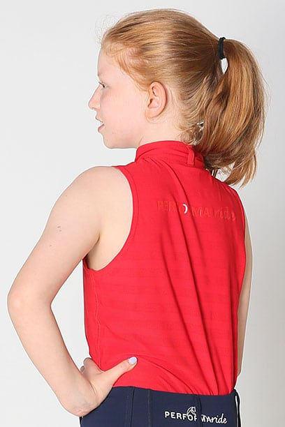 equestrian child technical sleeveless top red back left performa ride