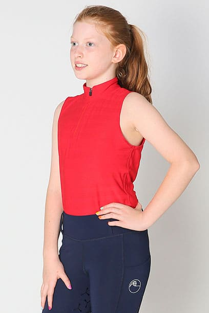 equestrian child technical sleeveless top red front left performa ride