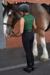 equestrian summer sleeveless top slim fit green back left wesley horse performa ride