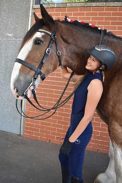 equestrian summer sleeveless top slim fit navy left side wesley horse performa ride