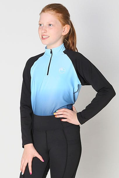 youth base layer equestrian top blue blue ombre front performa ride