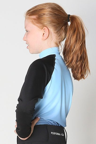youth base layer equestrian top blue blue ombre left side performa ride
