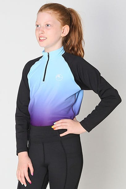 youth base layer equestrian top blue purple ombre front performa ride