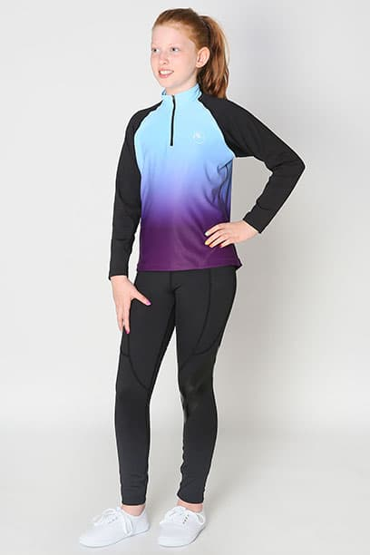 youth base layer equestrian top blue purple ombre full front full performa ride