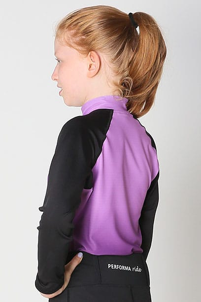 youth base layer equestrian top purple purple ombre left side performa ride