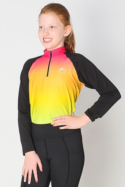 youth base layer equestrian top rainbow ombre front performa ride