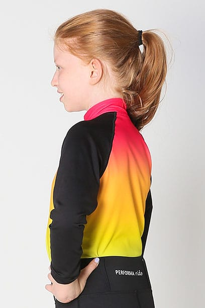 youth base layer equestrian top rainbow ombre left side performa ride