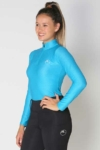 glacier long sleeve slim fit equestrian top adult blue front a performa ride