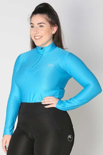 glacier long sleeve slim fit equestrian top adult blue front b performa ride