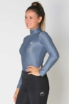 glacier long sleeve slim fit equestrian top adult grey front a performa ride