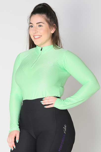 glacier long sleeve slim fit equestrian top adult mint front b performa ride