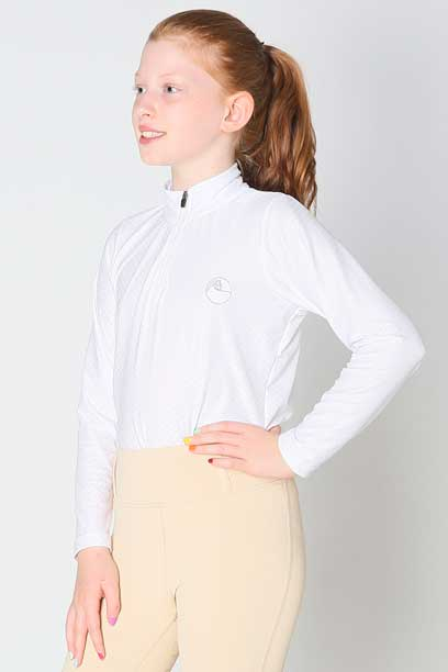 glacier long sleeve slim fit equestrian top youth white front performa ride