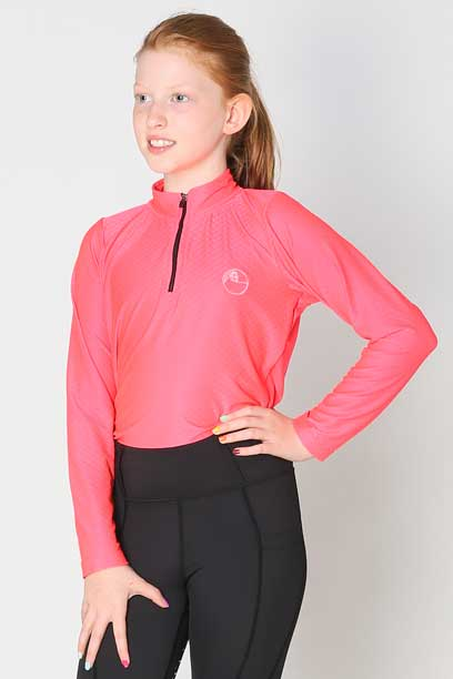 glacier long sleeve slim fit equestrian top youth youthflamingo front performa ride