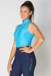 glacier sleeveless slim fit equestrian top blue front a performa ride