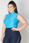 glacier sleeveless slim fit equestrian top blue front b performa ride