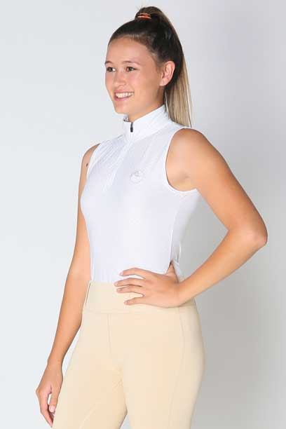 glacier sleeveless slim fit equestrian top white front a performa ride