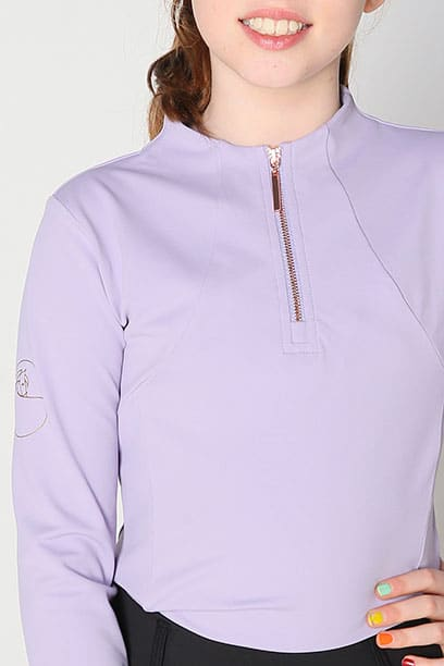 luna baselayer youth equestrian top lilac front close up performa ride