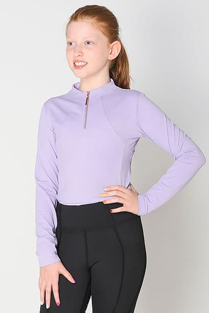 luna baselayer youth equestrian top lilac front performa ride