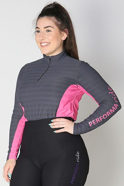 equestrian technical long sleeve top pink front b performa ride